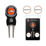 Denver Broncos Golf Divot Tool Set with 3 Markers