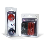 Houston Texans 3 Golf Ball/50 Golf Tee Set