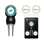 Miami Dolphins Golf Divot Tool Set with  3 golf ballmarkers