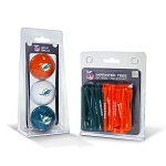 Miami Dolphins 3 golf Ball/50 golf Tee Set