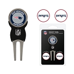 New England Patriots Golf Divot Tool Set with 3 Golf Ball Markers