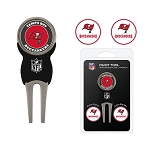 Tampa Bay Buccaneers Golf Divot Tool Set with 3 Golf Ball Markers