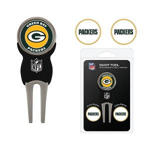 Green Bay Packers Golf Divot Tool Set with 3 Ballmarkers