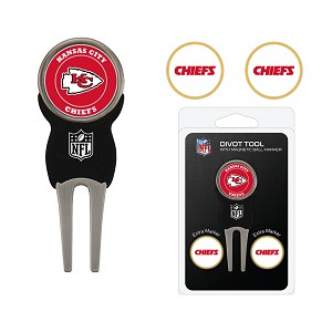Kansas City Chiefs Golf Divot Tool Set with 3 golf ballmarkers