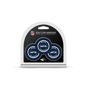 Seattle Seahawks NFL Set of 3 Golf Poker Chips/Ball Markers